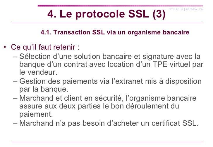 4.1. Transaction SSL via un organisme bancaire <ul><li>Ce qu'il faut retenir : </li></ul><ul><ul><li>Sélection d'une solut...