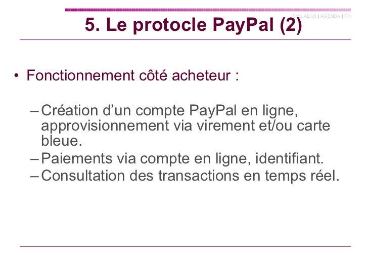 <ul><li>Fonctionnement côté acheteur : </li></ul><ul><ul><li>Création d'un compte PayPal en ligne, approvisionnement via v...
