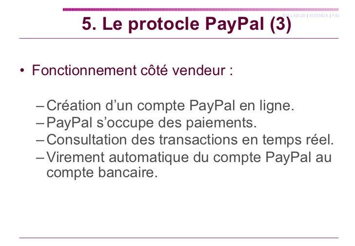 <ul><li>Fonctionnement côté vendeur : </li></ul><ul><ul><li>Création d'un compte PayPal en ligne. </li></ul></ul><ul><ul><...