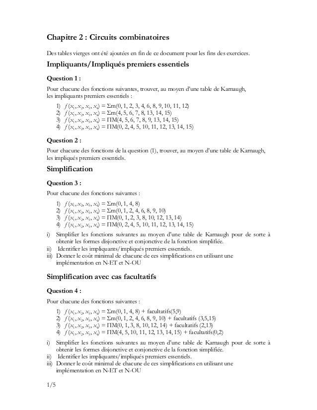 Chapitre 2 : Circuits combinatoires Des tables vierges ont été ajoutées en fin de ce document pour les fins des exercices....
