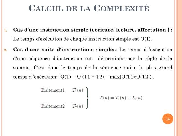 15 CLASSES DE COMPLEXITÉ
