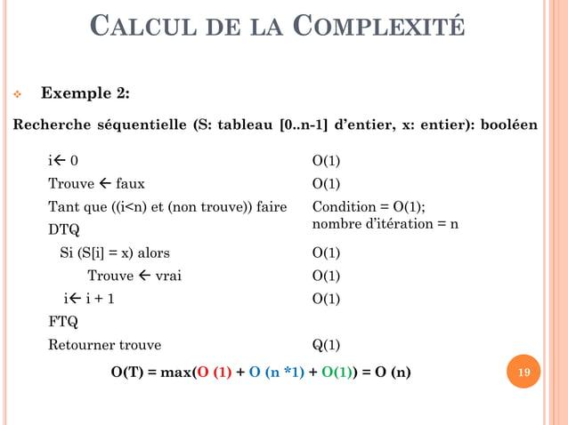 19  Exercice 2 : Compléter les tableaux suivants sachant que :  Dans le tableau (c), on calcule la plus grande instance ...