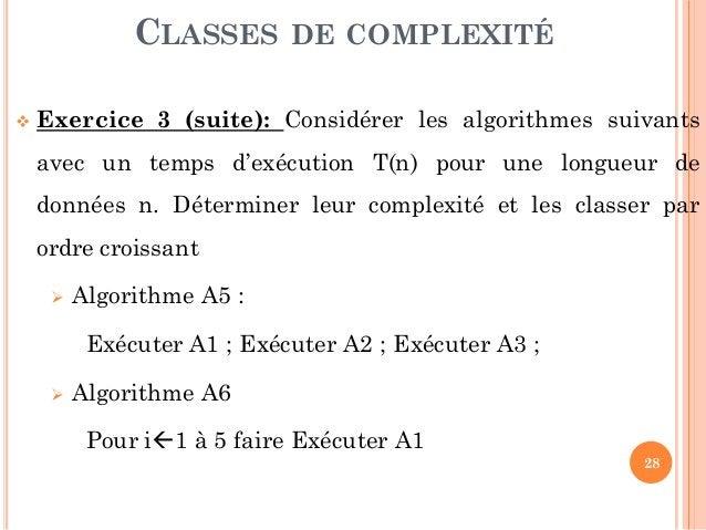 28  Exercice 3 (suite): Considérer les algorithmes suivants avec un temps d'exécution T(n) pour une longueur de données n...