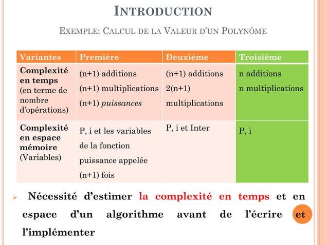 7 Variantes Première Deuxième Troisième Complexité en temps (en terme de nombre d'opérations) (n+1) additions (n+1) multip...
