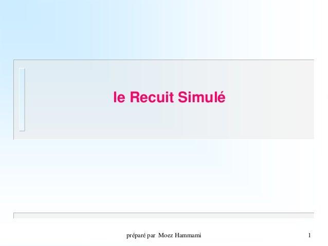 préparé par Moez Hammami  1  le Recuit Simulé