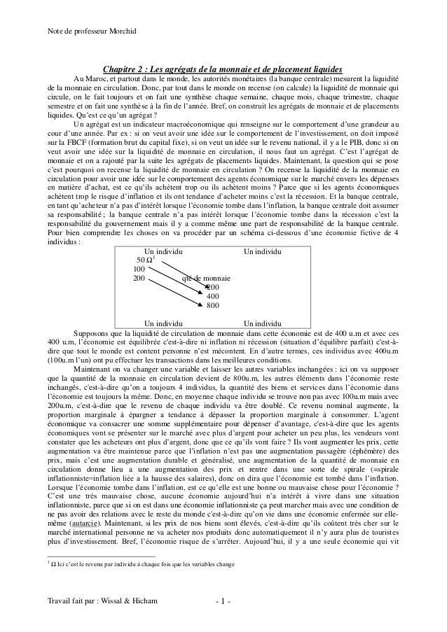 Note de professeur Morchid Travail fait par : Wissal & Hicham - 1 - Chapitre 2 : Les agrégats de la monnaie et de placemen...