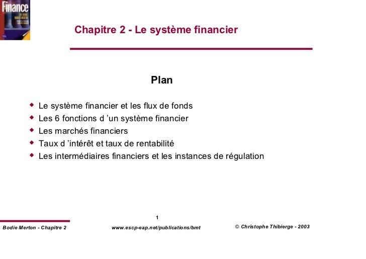Chapitre 2 - Le système financier                                                 Plan              Le système financier e...