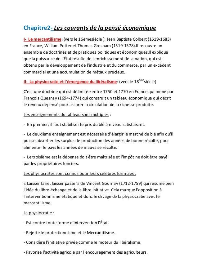 Chapitre2- Les courants de la pensé économique I- Le mercantilisme: (vers le 16èmesiècle ): Jean Baptiste Colbert (1619-16...