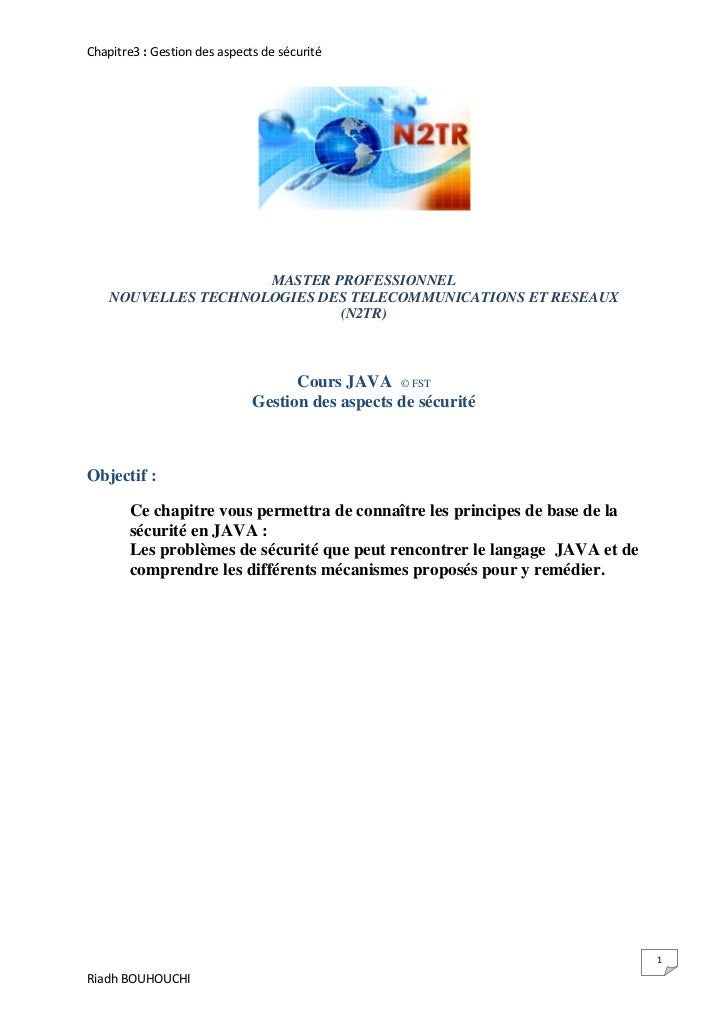 Chapitre3 : Gestion des aspects de sécurité                     MASTER PROFESSIONNEL    NOUVELLES TECHNOLOGIES DES TELECOM...