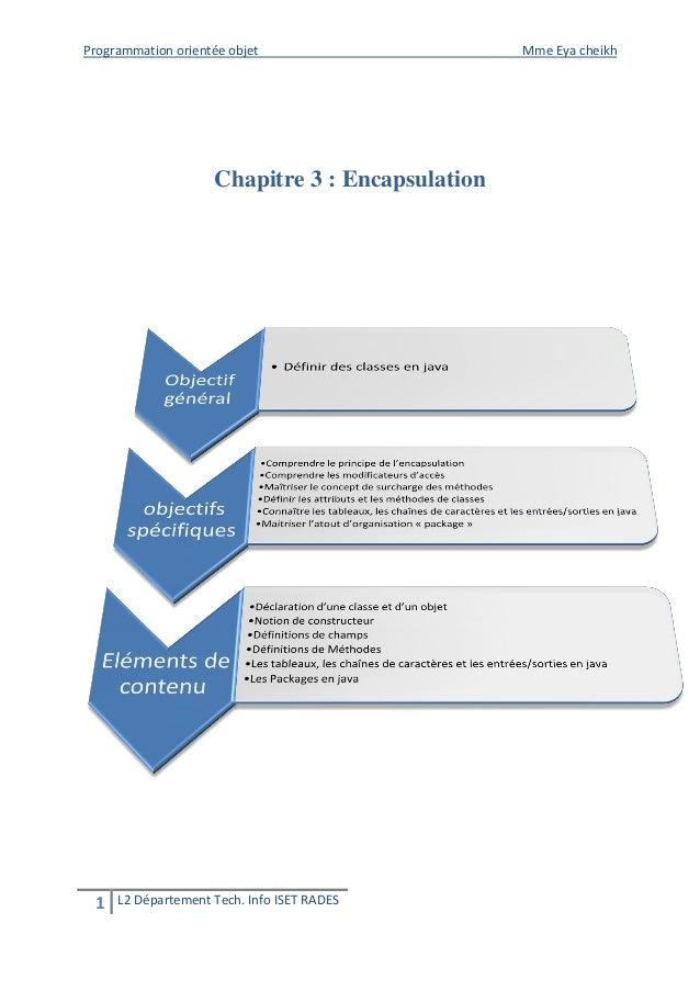 Programmation orientée objet Mme Eya cheikh  1 L2 Département Tech. Info ISET RADES  Chapitre 3 : Encapsulation