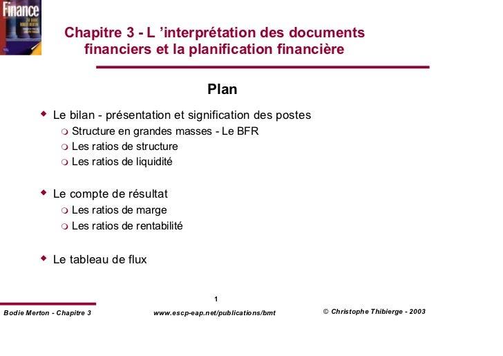 Chapitre 3 - L 'interprétation des documents                   financiers et la planification financière                  ...