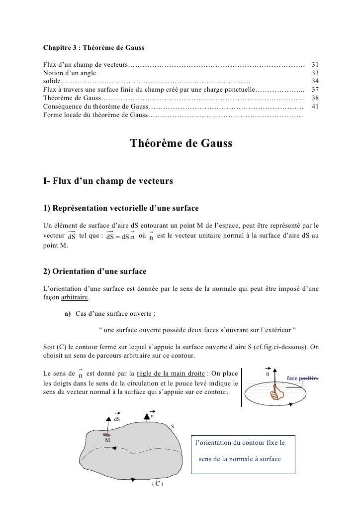 Chapitre 3 : Théorème de GaussFlux d'un champ de vecteurs……………………………………………………………….                                        ...