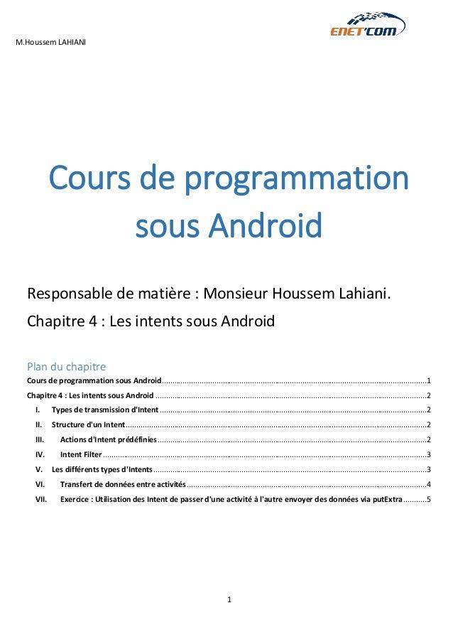 M.Houssem LAHIANI  1  Cours de programmation sous Android  Responsable de matière : Monsieur Houssem Lahiani.  Chapitre 4 ...