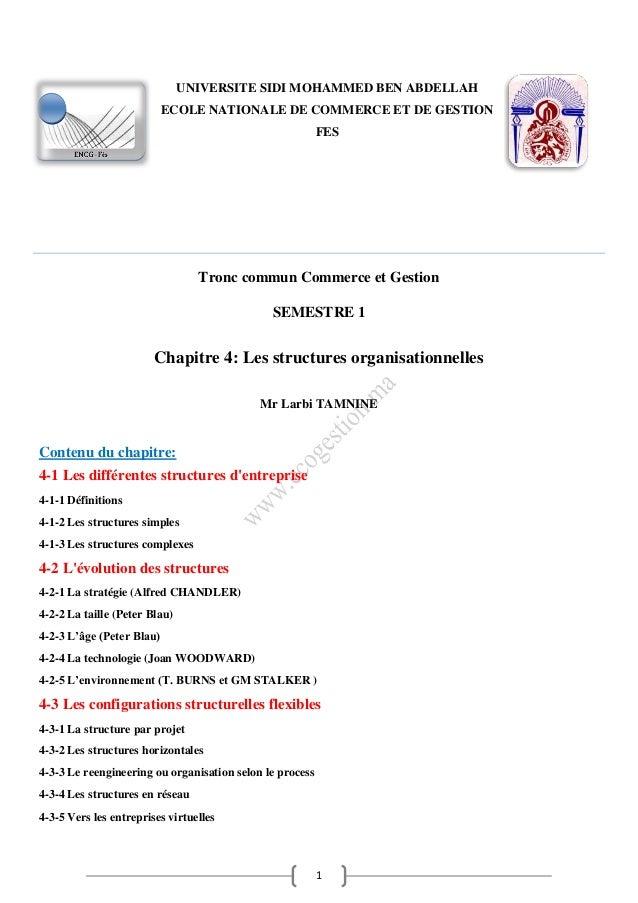1 Tronc commun Commerce et Gestion SEMESTRE 1 Chapitre 4: Les structures organisationnelles Mr Larbi TAMNINE Contenu du ch...