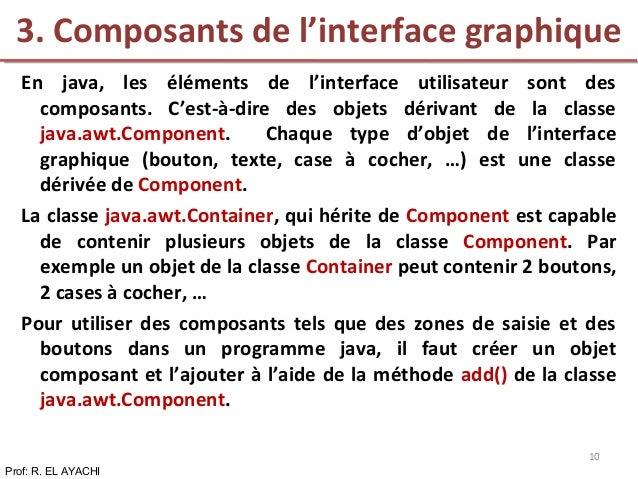 En java, les éléments de l'interface utilisateur sont des composants. C'est-à-dire des objets dérivant de la classe java.a...