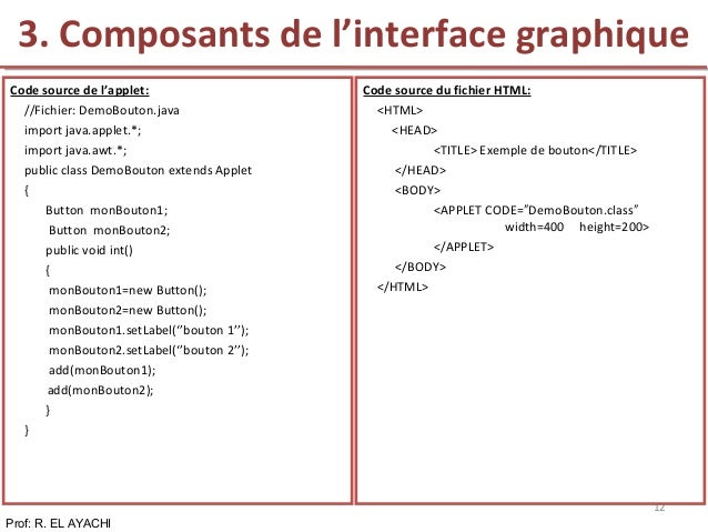 Prof: R. EL AYACHI 12 Code source de l'applet: //Fichier: DemoBouton.java import java.applet.*; import java.awt.*; public ...