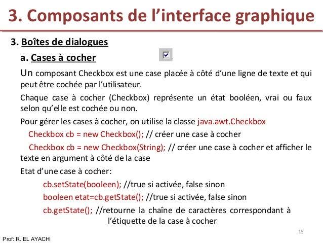 3. Boîtes de dialogues a. Cases à cocher Un composant Checkbox est une case placée à côté d'une ligne de texte et qui peut...