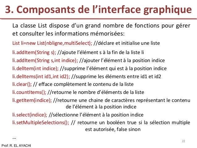 La classe List dispose d'un grand nombre de fonctions pour gérer et consulter les informations mémorisées: List li=new Lis...