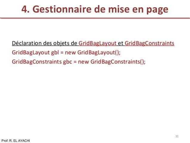 Déclaration des objets de GridBagLayout et GridBagConstraints GridBagLayout gbl = new GridBagLayout(); GridBagConstraints ...
