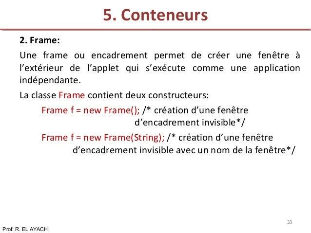 2. Frame: Une frame ou encadrement permet de créer une fenêtre à l'extérieur de l'applet qui s'exécute comme une applicati...