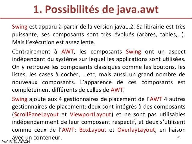 Swing est apparu à partir de la version java1.2. Sa librairie est très puissante, ses composants sont très évolués (arbres...