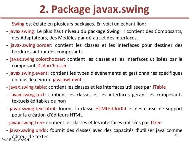 Swing est éclaté en plusieurs packages. En voici un échantillon: - javax.swing: Le plus haut niveau du package Swing. Il c...