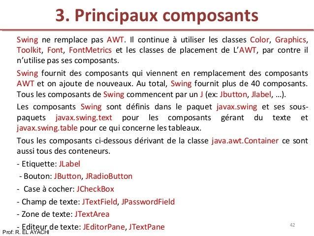 Swing ne remplace pas AWT. Il continue à utiliser les classes Color, Graphics, Toolkit, Font, FontMetrics et les classes d...