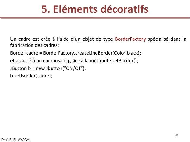 Un cadre est crée à l'aide d'un objet de type BorderFactory spécialisé dans la fabrication des cadres: Border cadre = Bord...