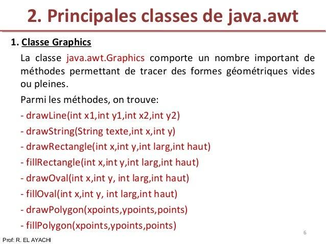 1. Classe Graphics La classe java.awt.Graphics comporte un nombre important de méthodes permettant de tracer des formes gé...