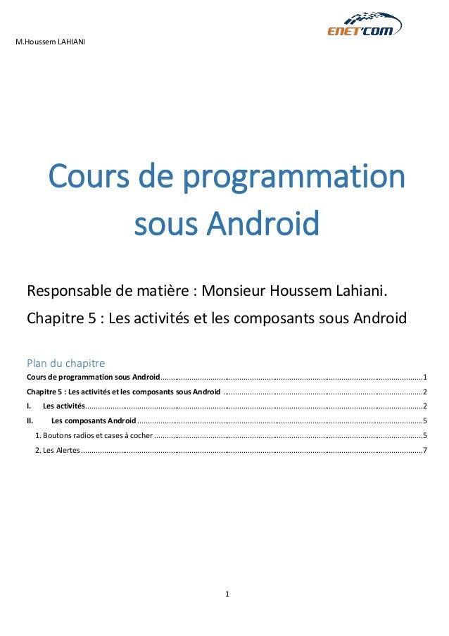 M.Houssem LAHIANI  1  Cours de programmation sous Android  Responsable de matière : Monsieur Houssem Lahiani.  Chapitre 5 ...