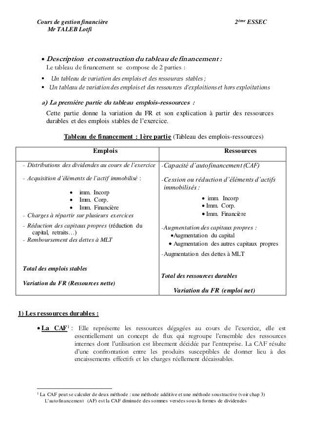 Chapitre 5 Le Tableau De Financement