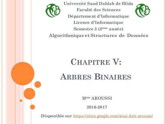 CHAPITRE V: ARBRES BINAIRES Université Saad Dahlab de Blida Faculté des Sciences Département d'Informatique Licence d'Info...