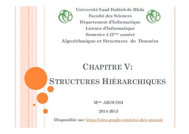 CHAPITRE V: Université Saad Dahlab de Blida Faculté des Sciences Département d'Informatique Licence d'Informatique Semestr...