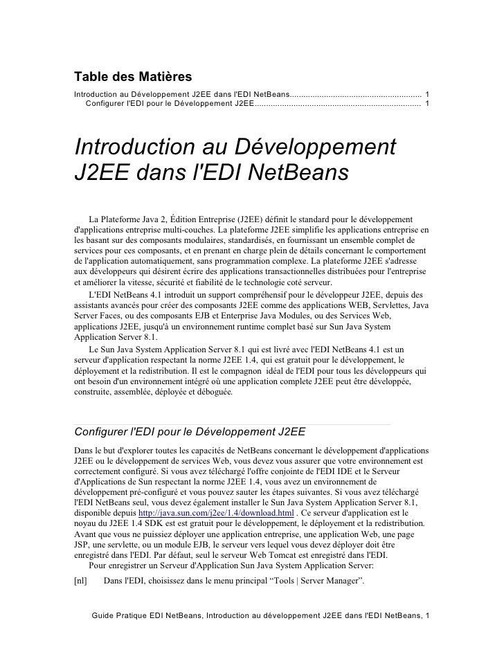 Table des Matières Introduction au Développement J2EE dans l'EDI NetBeans....................................................