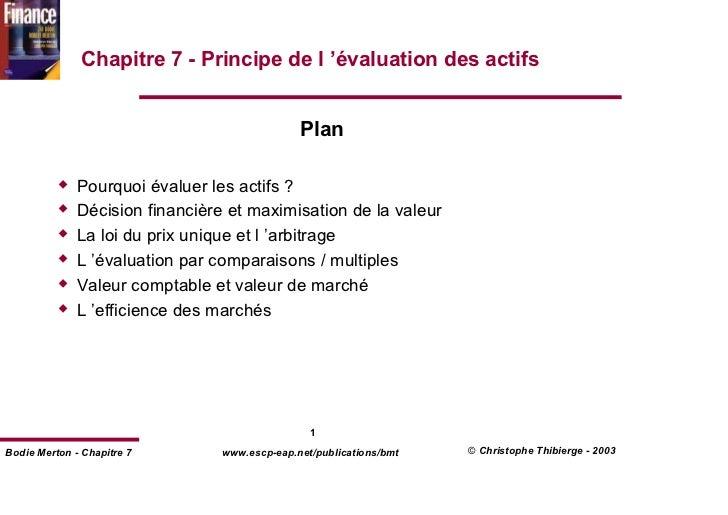 Chapitre 7 - Principe de l 'évaluation des actifs                                               Plan              Pourquoi...