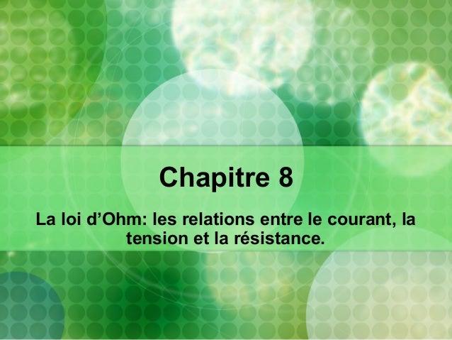 Chapitre 8 La loi d'Ohm: les relations entre le courant, la tension et la résistance.