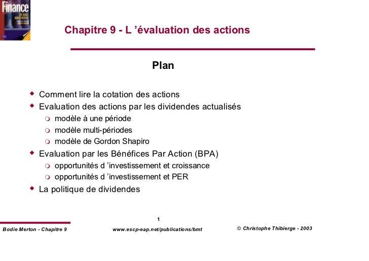 Chapitre 9 - L 'évaluation des actions                                                  Plan              Comment lire la ...