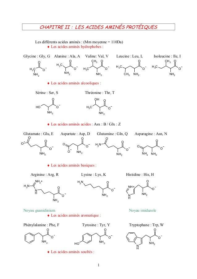 CHAPITRE II : LES ACIDES AMINÉS PROTÉIQUES            Les différents acides aminés : (Mm moyenne = 110Da)                 ...
