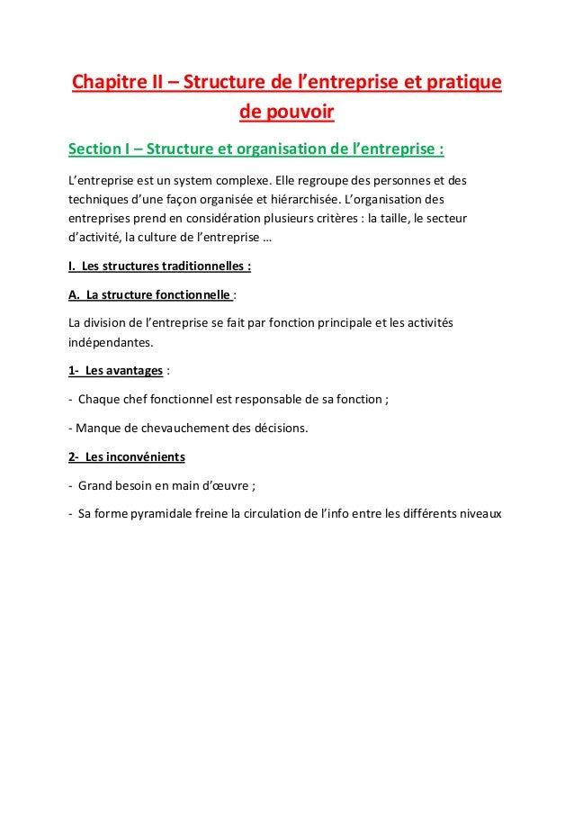 Chapitre II – Structure de l'entreprise et pratique de pouvoir Section I – Structure et organisation de l'entreprise : L'e...