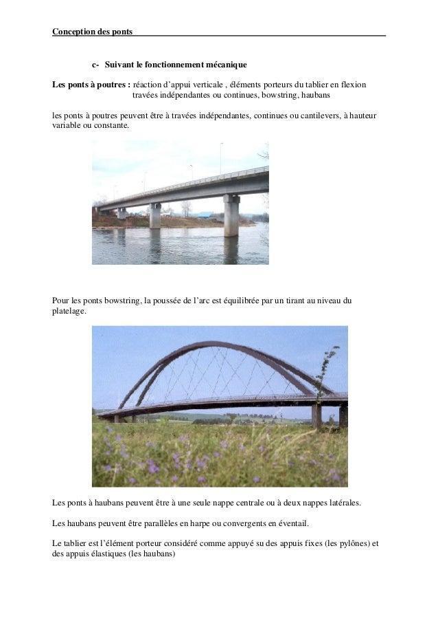 Conception des ponts           c- Suivant le fonctionnement mécaniqueLes ponts à poutres : réaction d'appui verticale , él...
