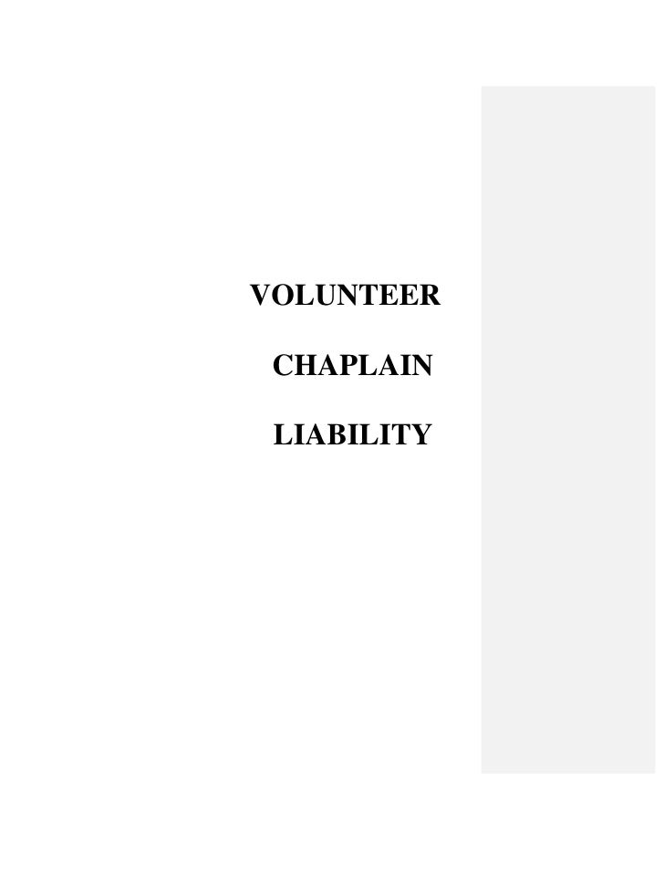 VOLUNTEER CHAPLAIN LIABILITY
