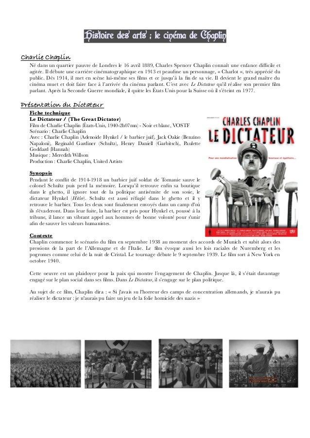 Histoire des arts : le cinéma de Chaplin Charlie Chaplin Né dans un quartier pauvre de Londres le 16 avril 1889, Charles S...