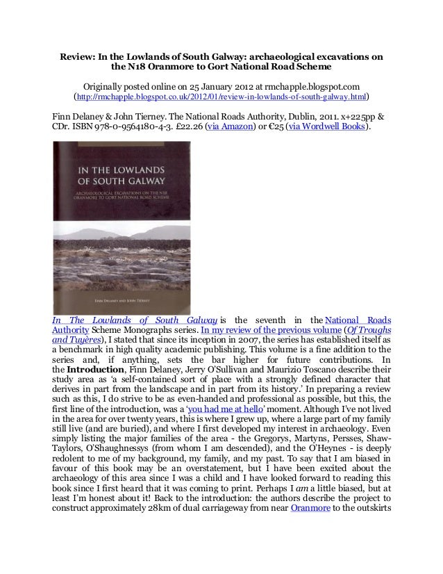Review: In the Lowlands of South Galway: archaeological excavations on the N18 Oranmore to Gort National Road Scheme Origi...