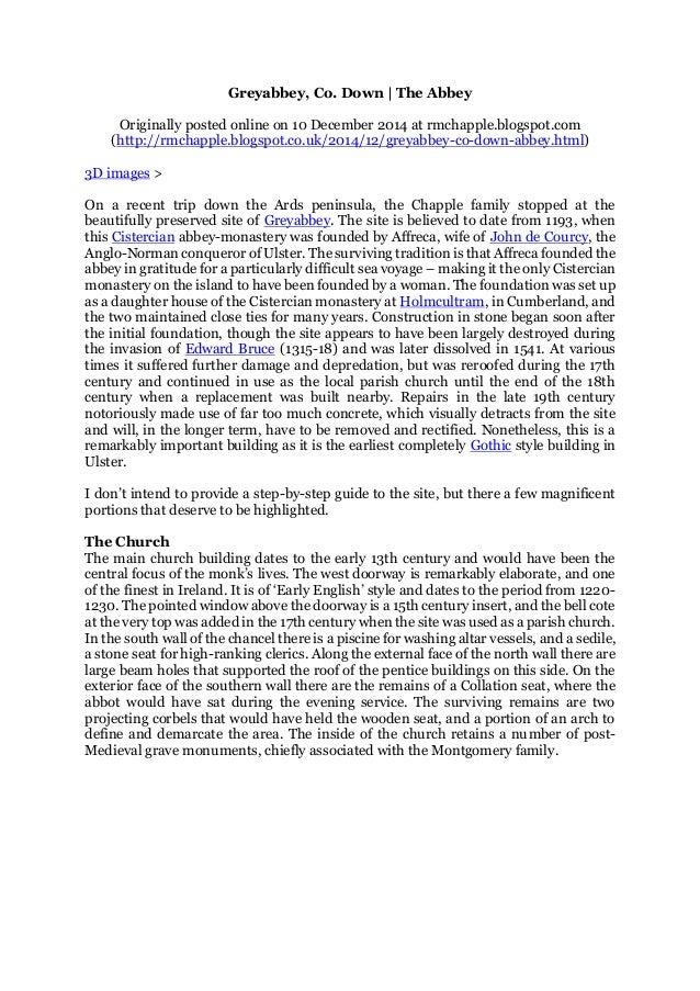 Chapple, R  M  2014 Greyabbey, Co  Down  The Abbey  Blogspot post