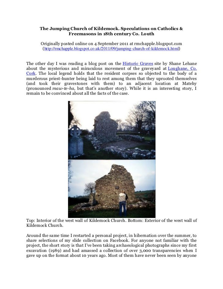 The Jumping Church of Kildemock. Speculations on Catholics &                  Freemasons in 18th century Co. Louth       O...