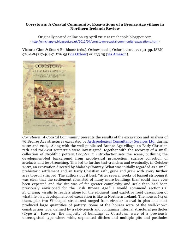 Corrstown: A Coastal Community. Excavations of a Bronze Age village in                        Northern Ireland: Review    ...