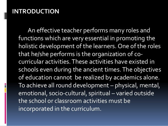 role of teacher in co curricular activities