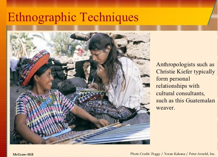 Ethnographic Techniques Anthropologists such as Christie Kiefer typically form personal relationships with cultural consul...