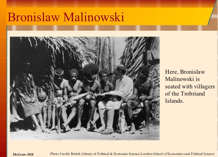 Bronislaw Malinowski Here, Bronislaw Malinowski is seated with villagers of the Trobriand Islands. Photo Credit: British L...
