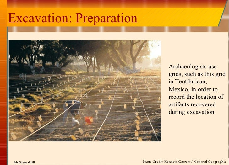Excavation: Preparation Archaeologists use grids, such as this grid in Teotihuican, Mexico, in order to record the locatio...